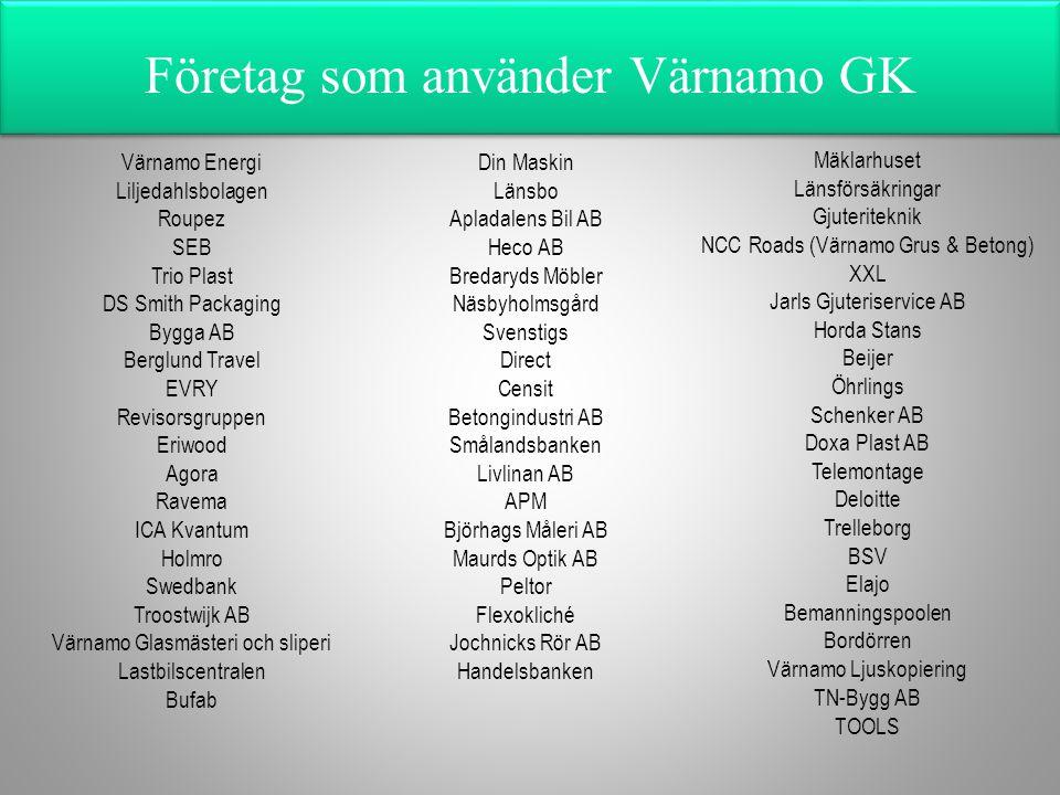 Företag som använder Värnamo GK