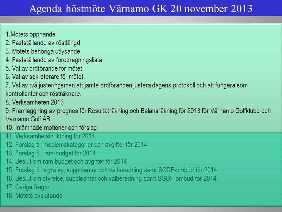 Agenda höstmöte Värnamo GK 20 november 2013