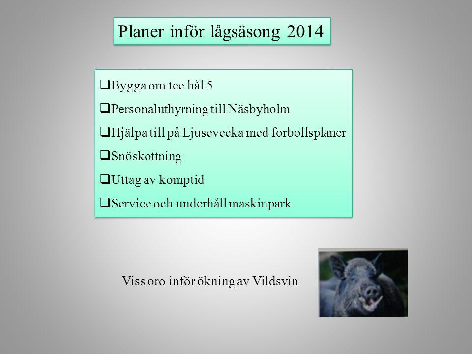 Planer inför lågsäsong 2014