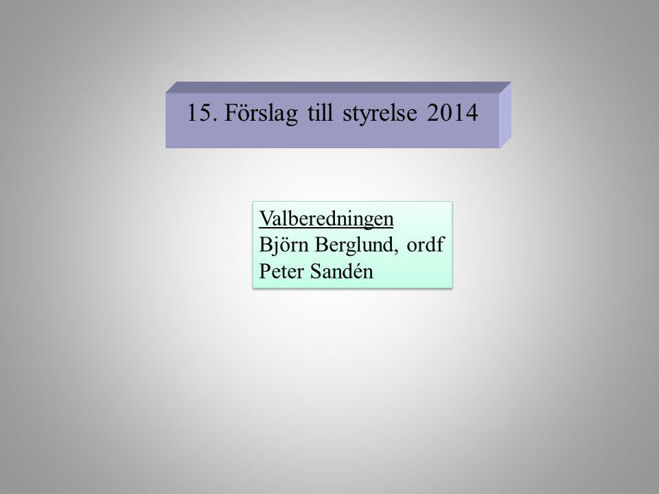 15. Förslag till styrelse 2014 Valberedningen Björn Berglund, ordf