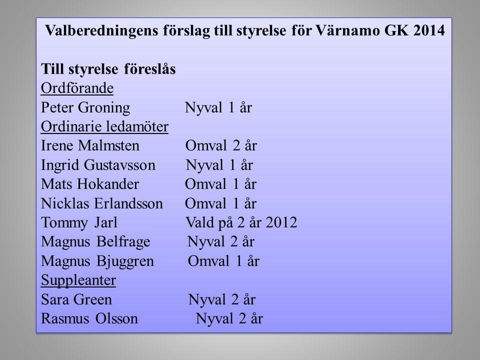 Valberedningens förslag till styrelse för Värnamo GK 2014