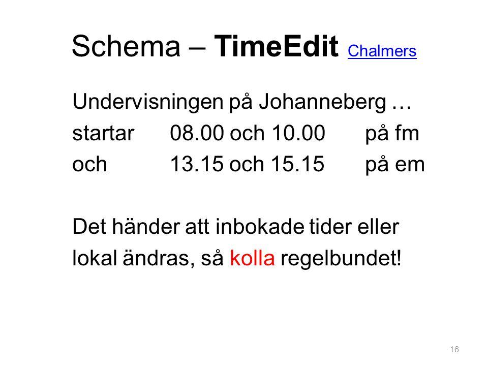 Schema – TimeEdit Chalmers
