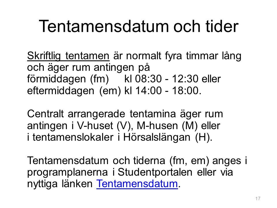 Tentamensdatum och tider