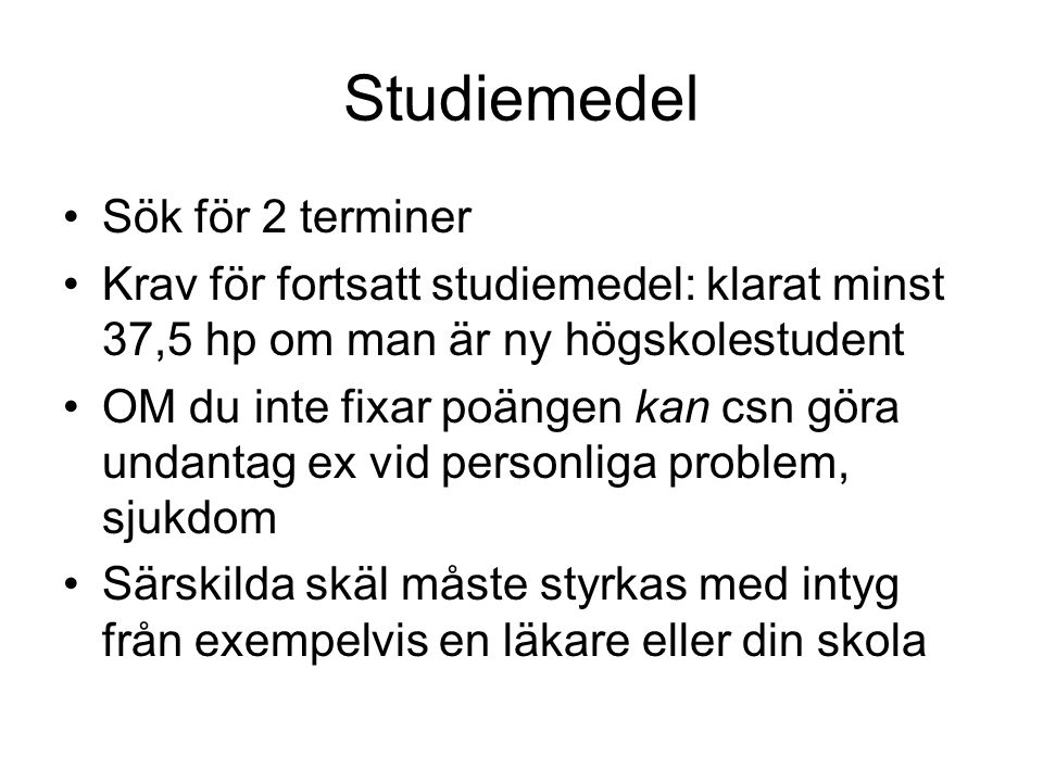 Studiemedel Sök för 2 terminer
