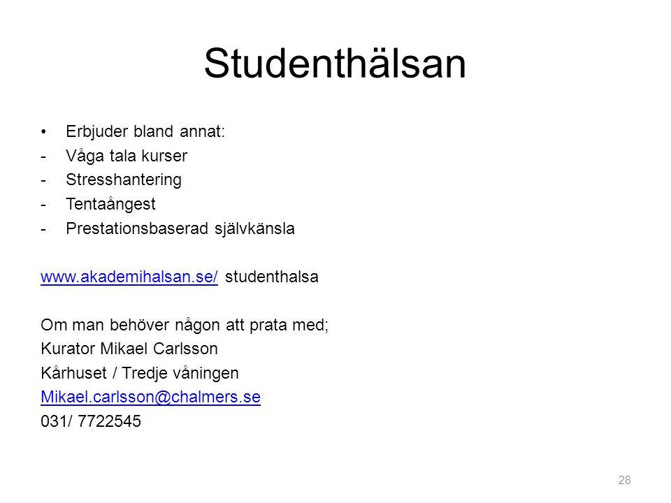Studenthälsan Erbjuder bland annat: Våga tala kurser Stresshantering