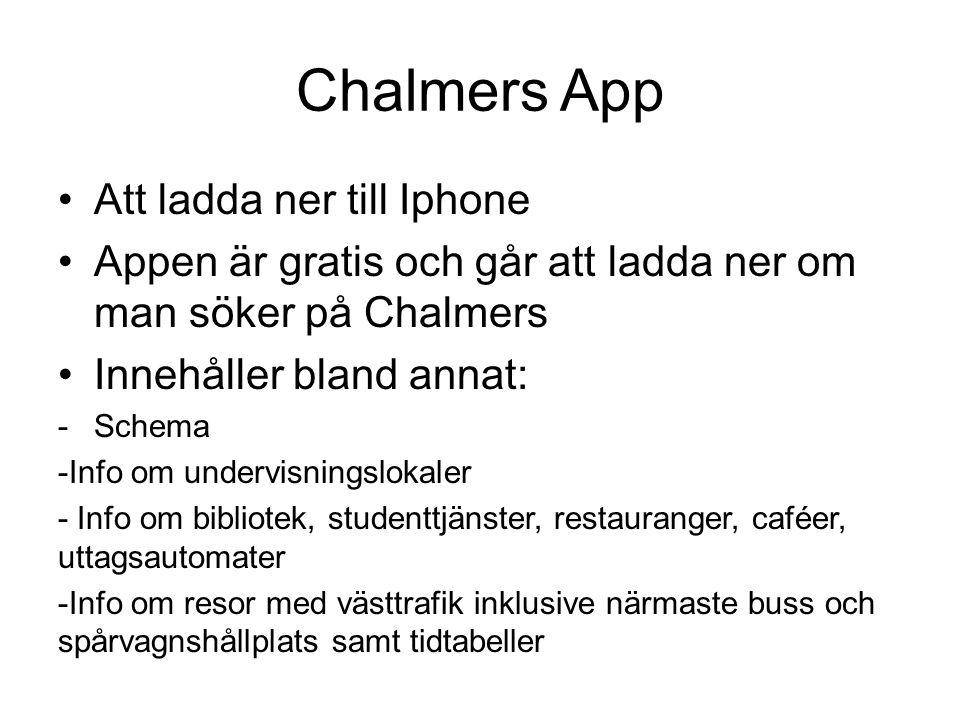 Chalmers App Att ladda ner till Iphone