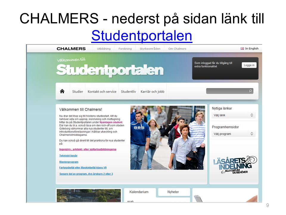 CHALMERS - nederst på sidan länk till Studentportalen