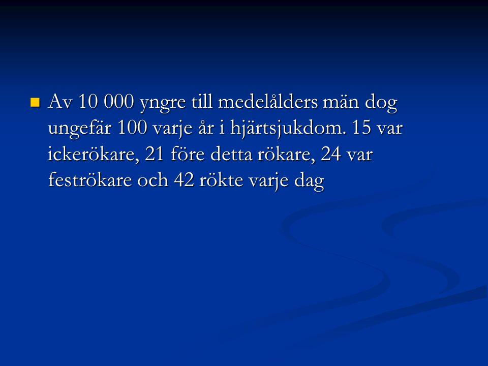 Av 10 000 yngre till medelålders män dog ungefär 100 varje år i hjärtsjukdom.