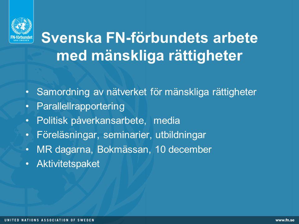 Svenska FN-förbundets arbete med mänskliga rättigheter