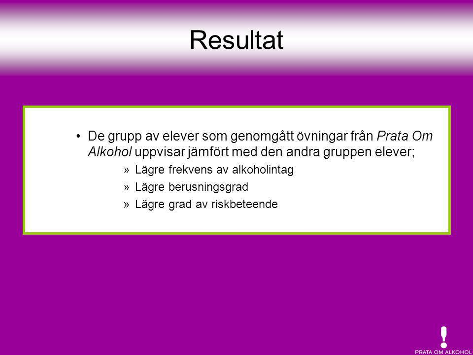 Resultat De grupp av elever som genomgått övningar från Prata Om Alkohol uppvisar jämfört med den andra gruppen elever;