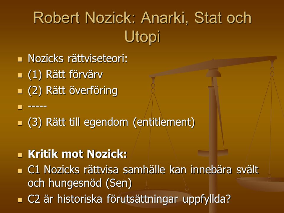 Robert Nozick: Anarki, Stat och Utopi