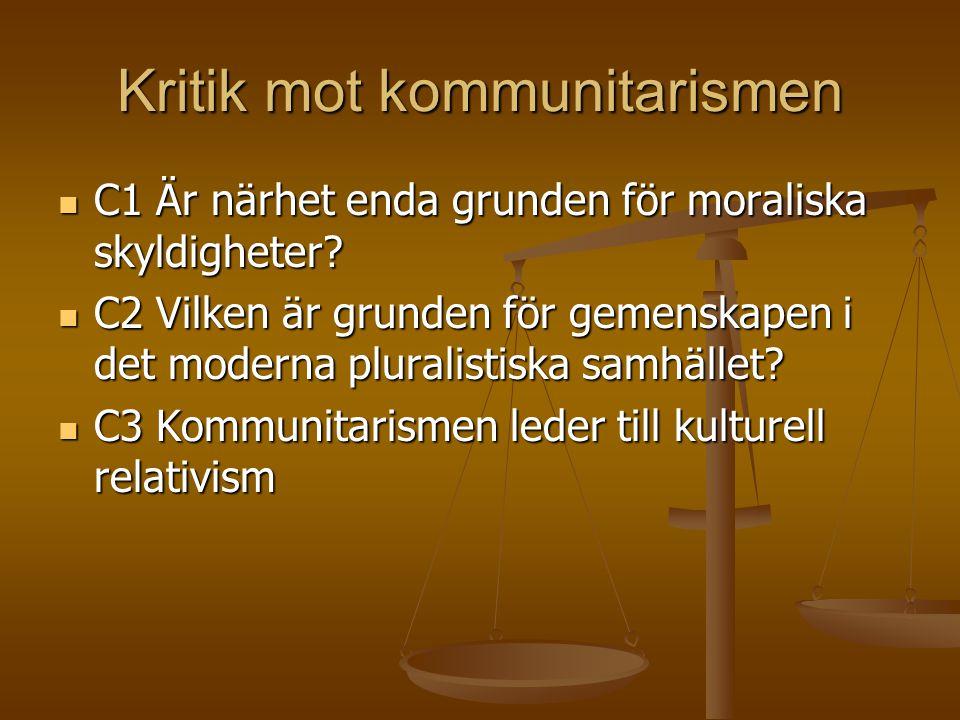 Kritik mot kommunitarismen