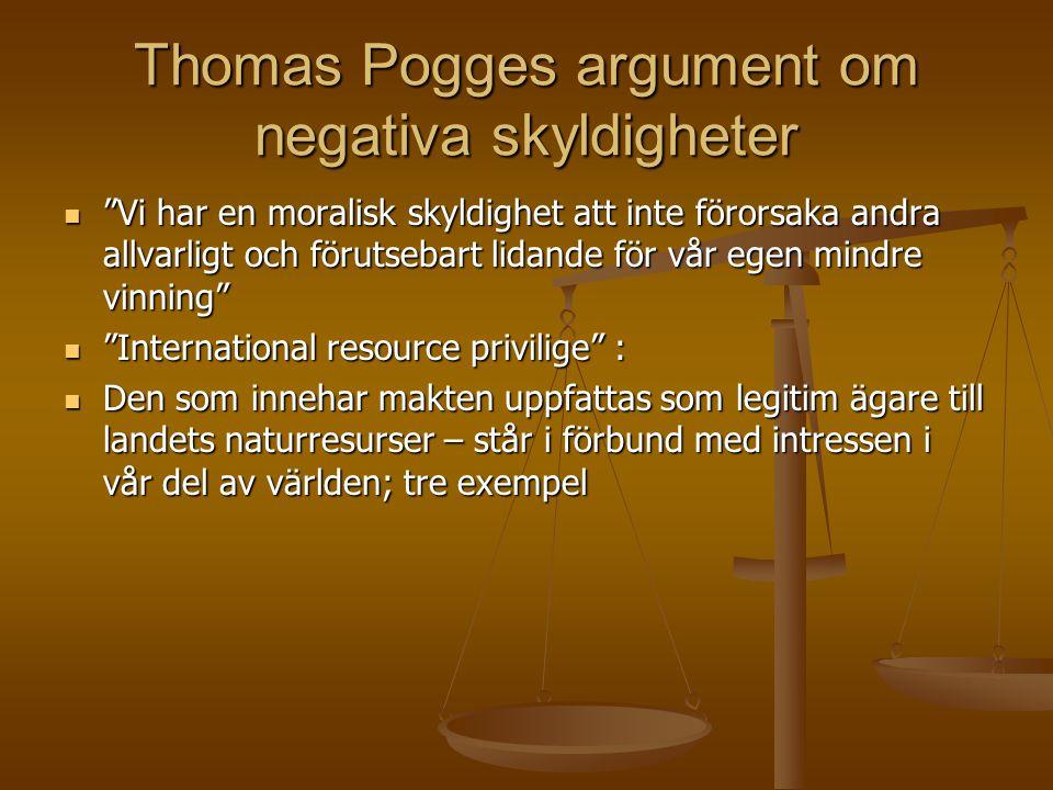 Thomas Pogges argument om negativa skyldigheter