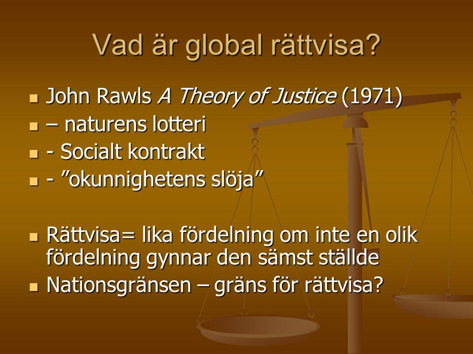 Vad är global rättvisa John Rawls A Theory of Justice (1971)