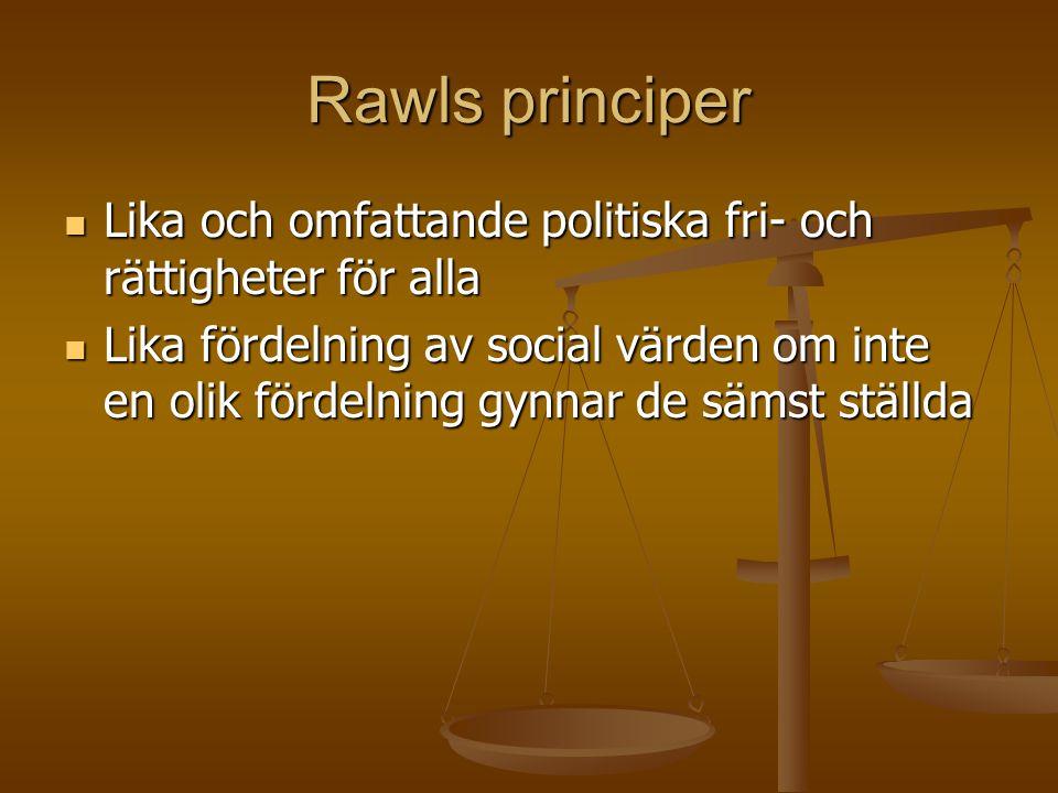 Rawls principer Lika och omfattande politiska fri- och rättigheter för alla.