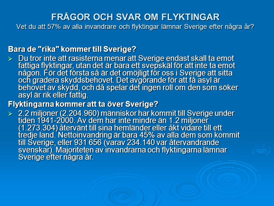 FRÅGOR OCH SVAR OM FLYKTINGAR Vet du att 57% av alla invandrare och flyktingar lämnar Sverige efter några år