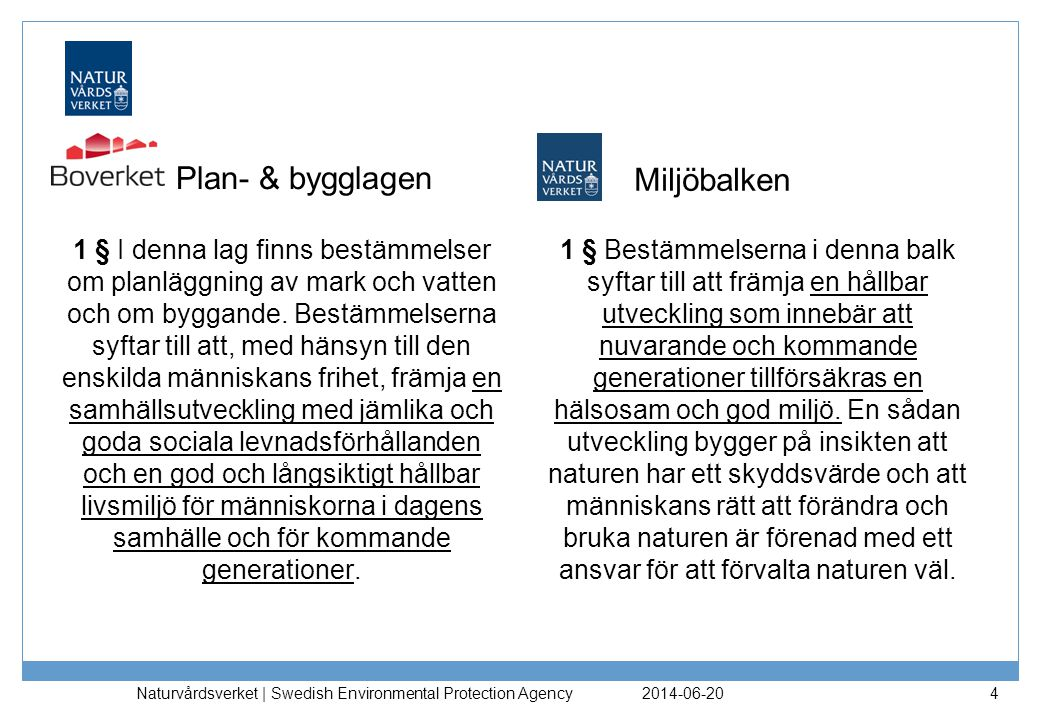 Plan- & bygglagen Miljöbalken