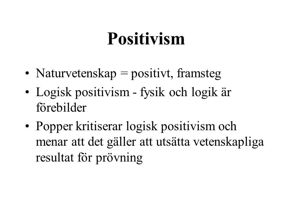 Positivism Naturvetenskap = positivt, framsteg