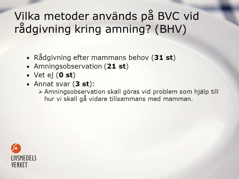 Vilka metoder används på BVC vid rådgivning kring amning (BHV)