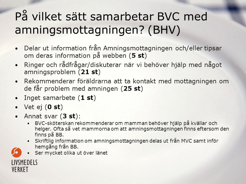 På vilket sätt samarbetar BVC med amningsmottagningen (BHV)