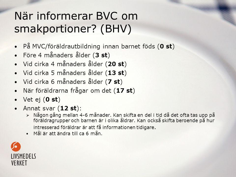 När informerar BVC om smakportioner (BHV)