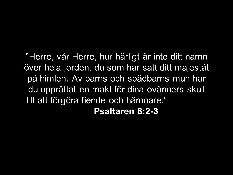 Herre, vår Herre, hur härligt är inte ditt namn över hela jorden, du som har satt ditt majestät på himlen.