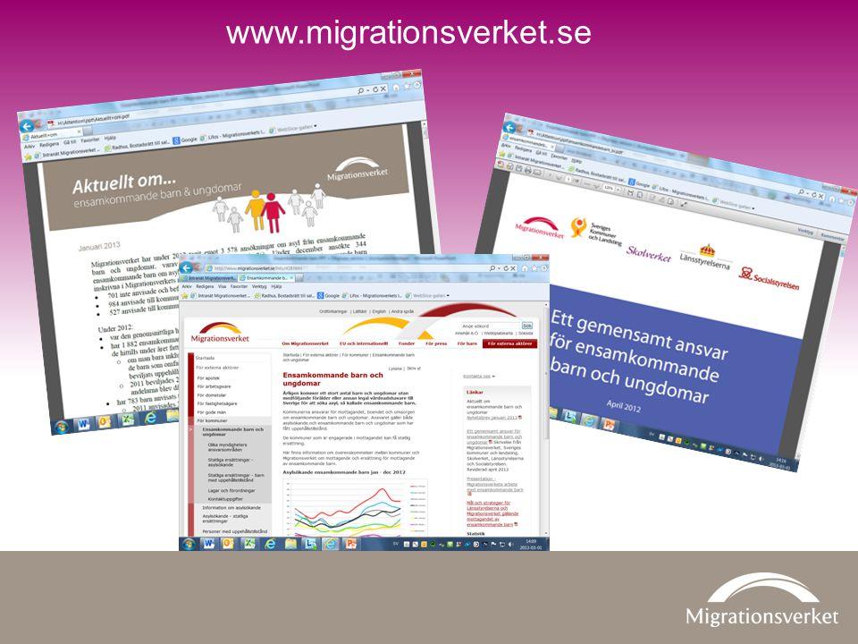 www.migrationsverket.se Ett gemensamt ansvar för ensamkommande barn och ungdomar är en folder som tagits fram gemensamt av.