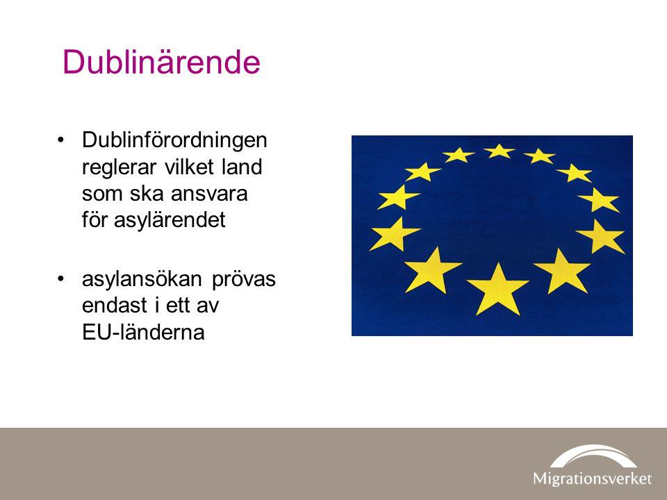 Dublinärende Dublinförordningen reglerar vilket land som ska ansvara för asylärendet. asylansökan prövas endast i ett av EU-länderna.