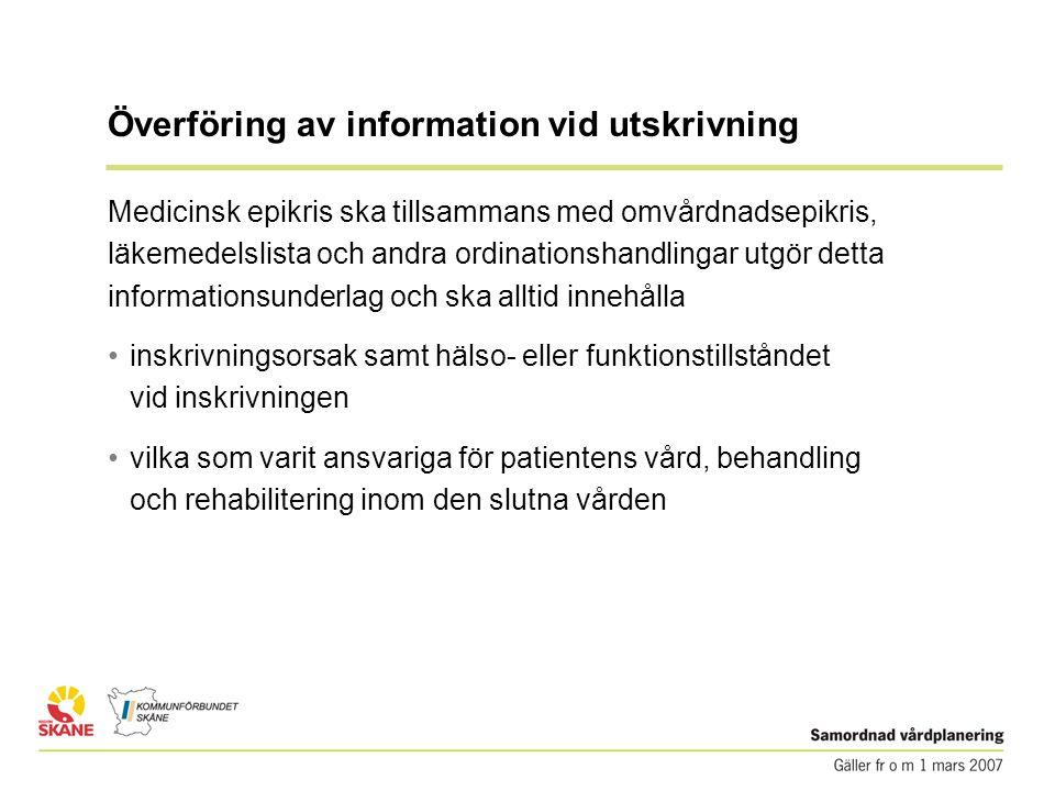 Överföring av information vid utskrivning