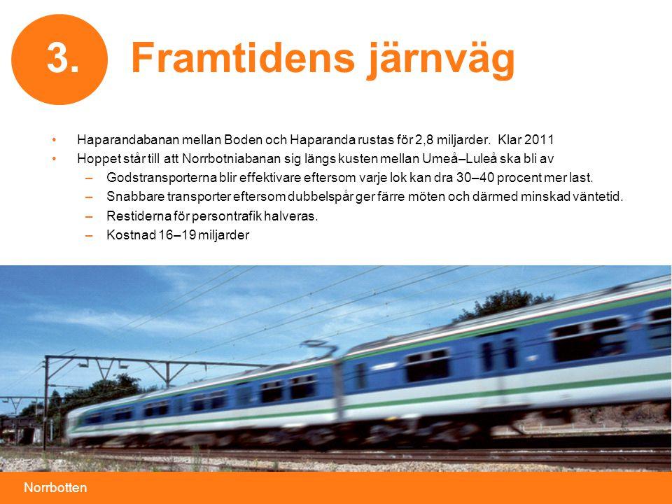3. Framtidens järnväg. Haparandabanan mellan Boden och Haparanda rustas för 2,8 miljarder. Klar 2011.