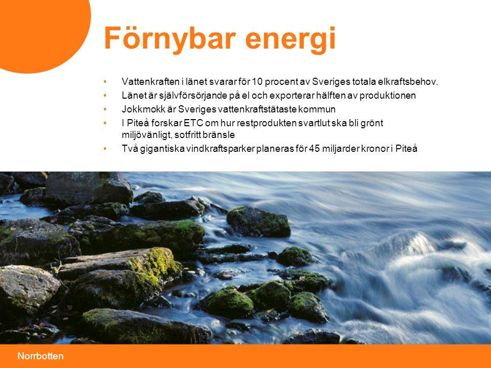 Förnybar energi Vattenkraften i länet svarar för 10 procent av Sveriges totala elkraftsbehov.
