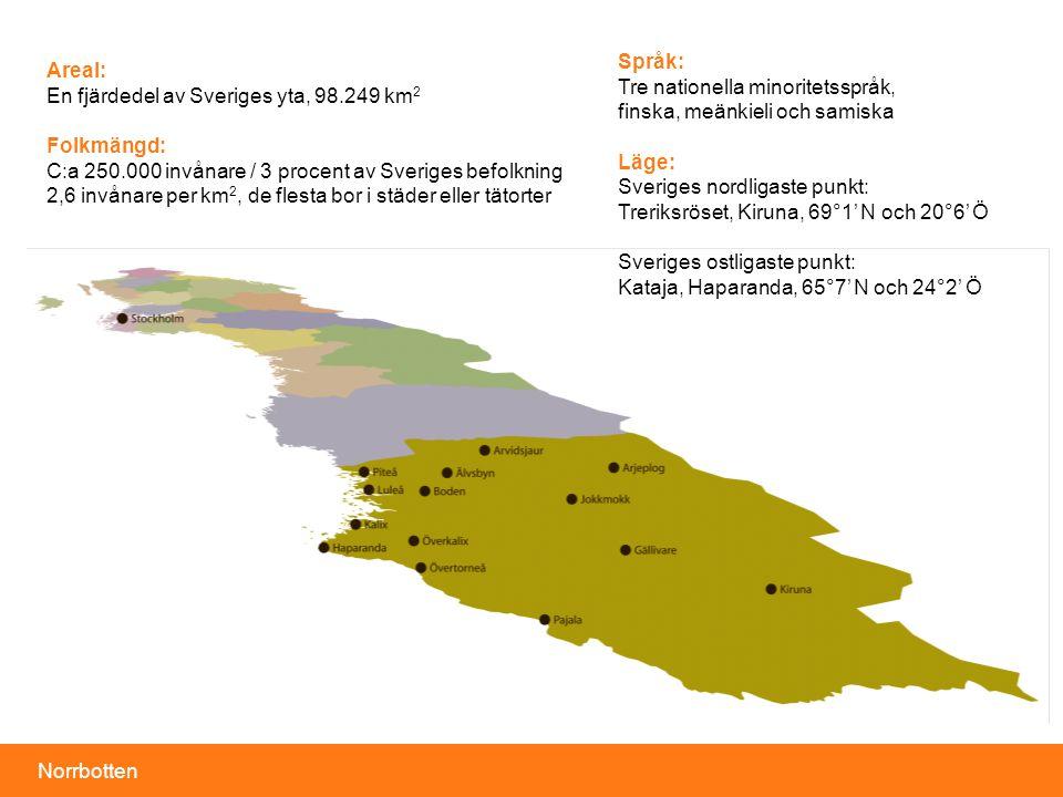 Språk: Tre nationella minoritetsspråk, finska, meänkieli och samiska. Läge: Sveriges nordligaste punkt: