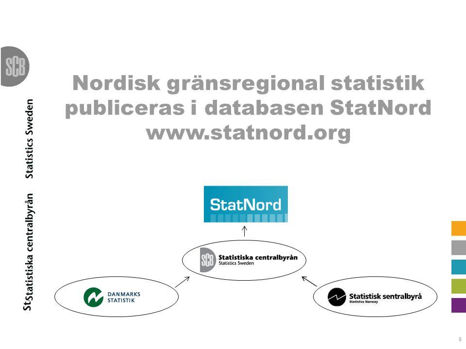 Nordisk gränsregional statistik publiceras i databasen StatNord www