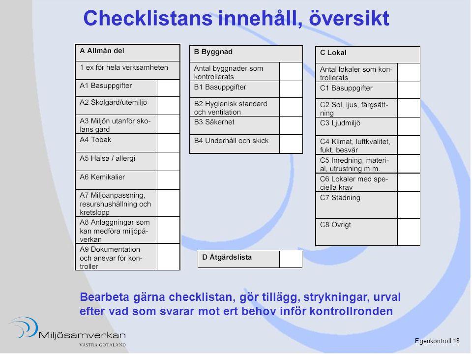 Checklistans innehåll, översikt