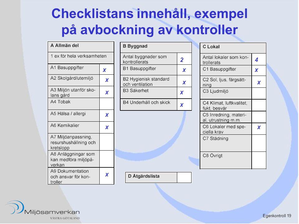 Checklistans innehåll, exempel på avbockning av kontroller