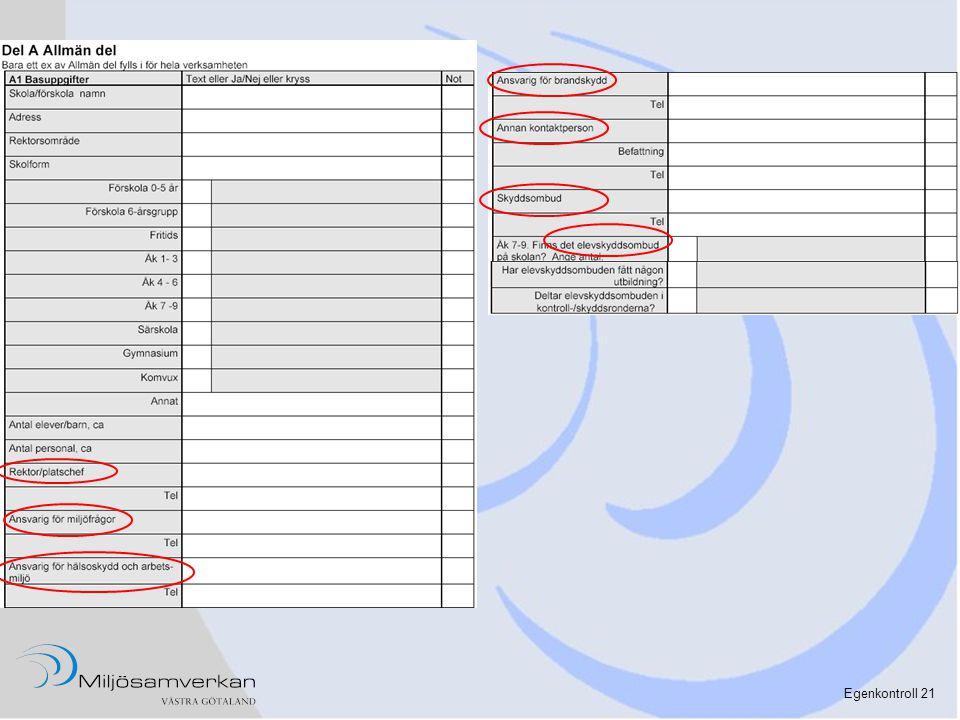 Det här är de basuppgifter, man bör fylla i för varje verksamhet.