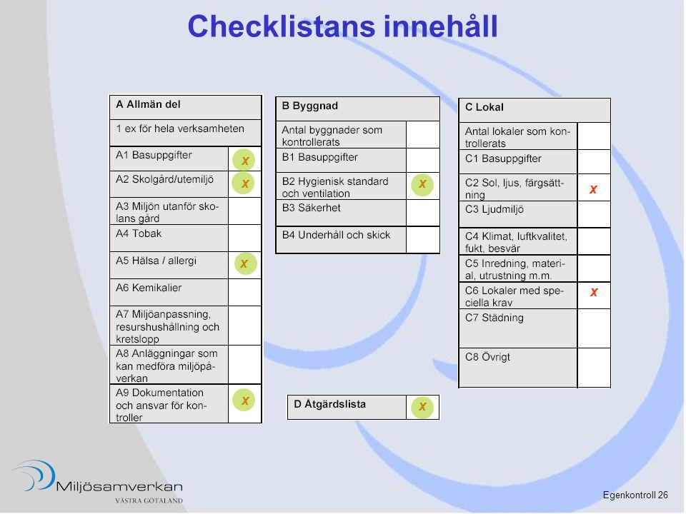 Checklistans innehåll