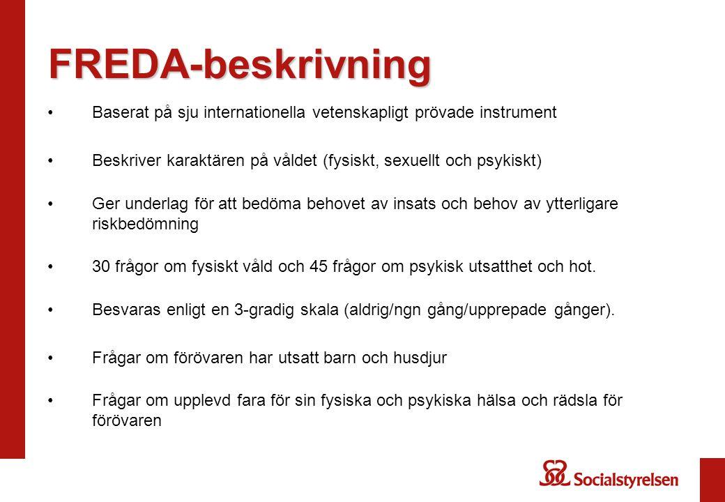 FREDA-beskrivning Baserat på sju internationella vetenskapligt prövade instrument. Beskriver karaktären på våldet (fysiskt, sexuellt och psykiskt)