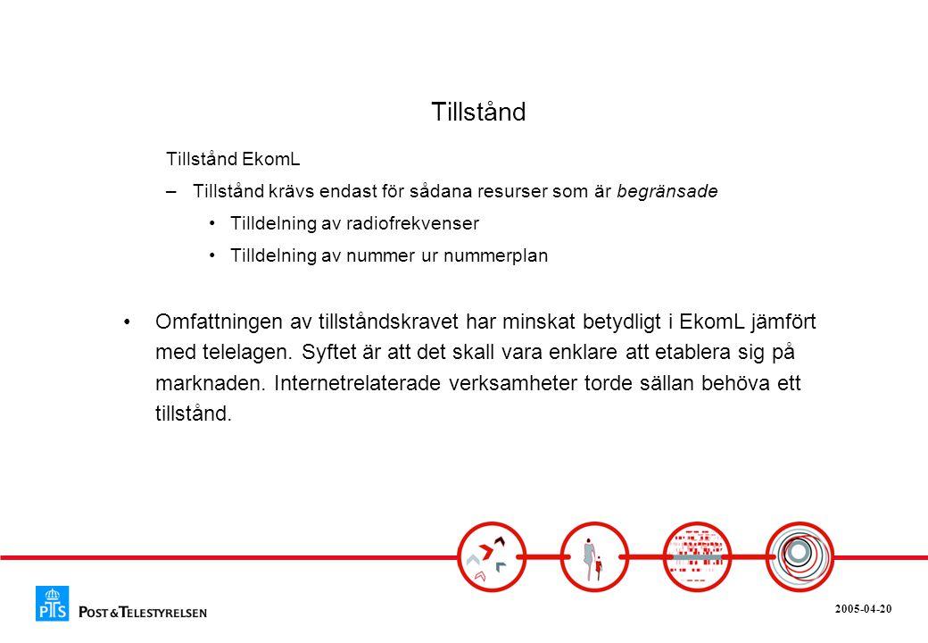 Tillstånd Tillstånd EkomL. Tillstånd krävs endast för sådana resurser som är begränsade. Tilldelning av radiofrekvenser.