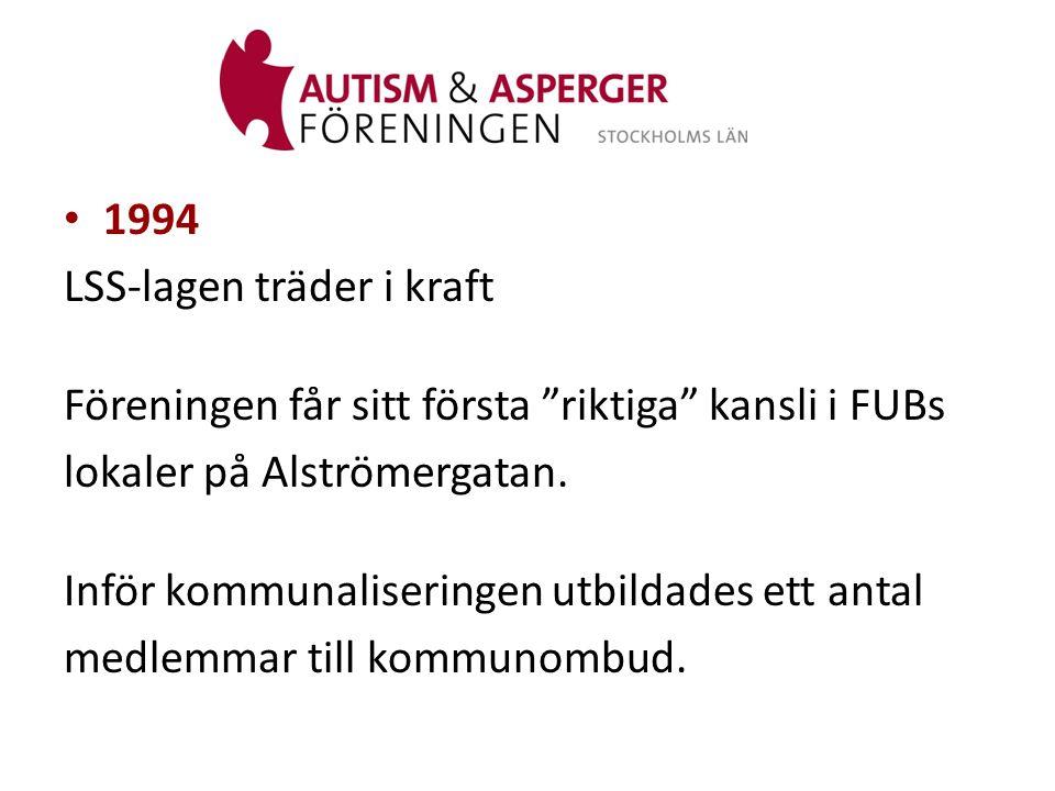1994 LSS-lagen träder i kraft. Föreningen får sitt första riktiga kansli i FUBs. lokaler på Alströmergatan.