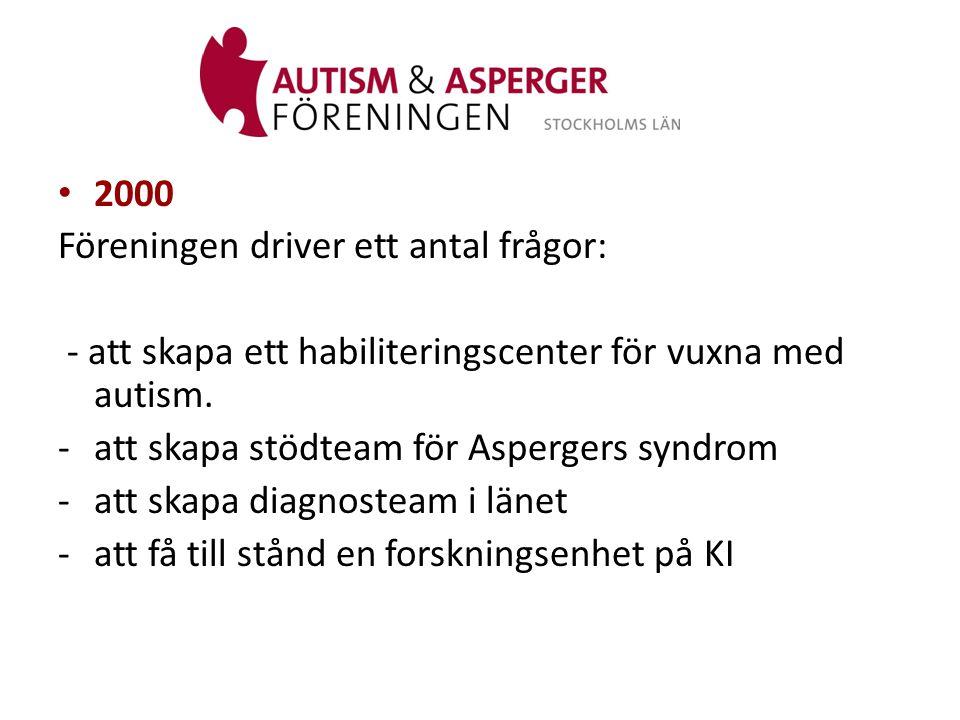 2000 Föreningen driver ett antal frågor: - att skapa ett habiliteringscenter för vuxna med autism.