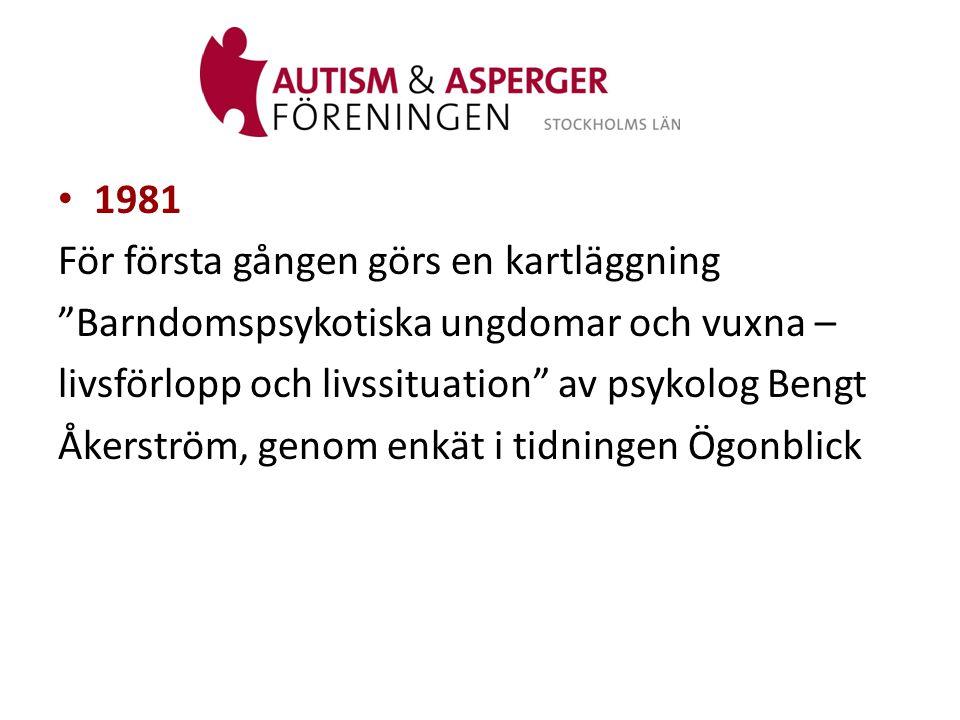 1981 För första gången görs en kartläggning. Barndomspsykotiska ungdomar och vuxna – livsförlopp och livssituation av psykolog Bengt.