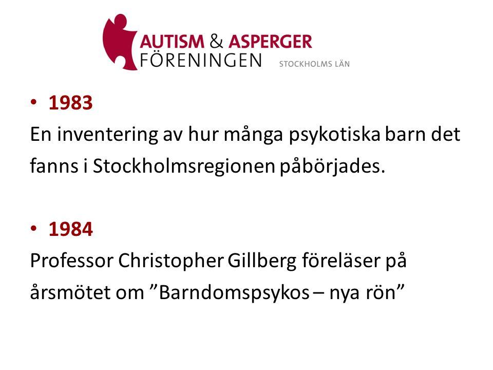1983 En inventering av hur många psykotiska barn det. fanns i Stockholmsregionen påbörjades. 1984.