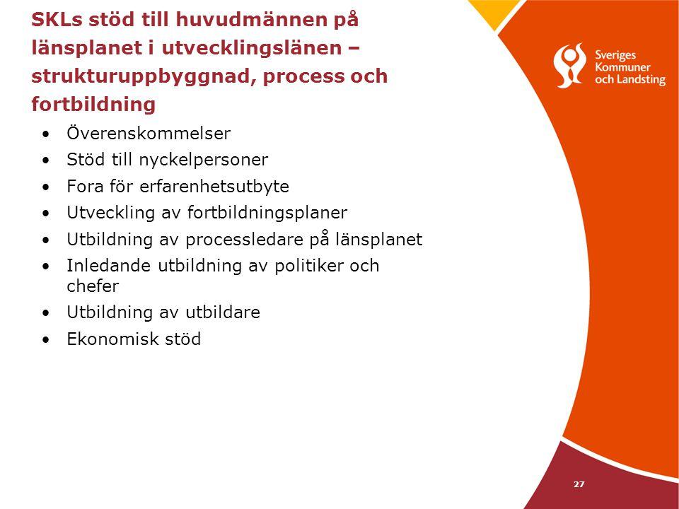 SKLs stöd till huvudmännen på länsplanet i utvecklingslänen – strukturuppbyggnad, process och fortbildning