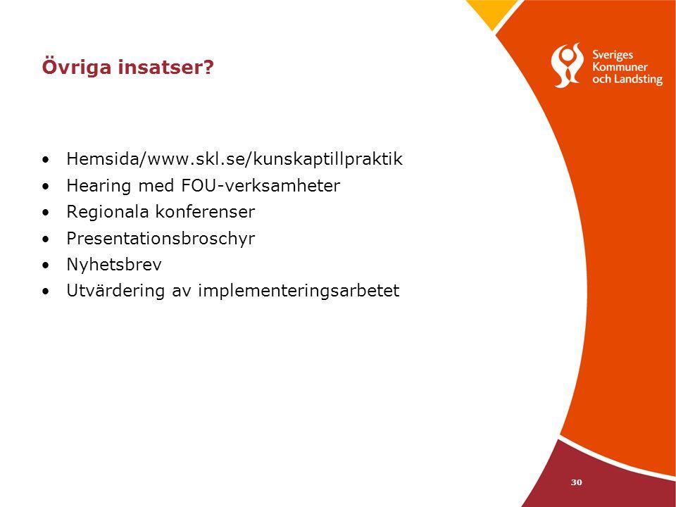 Övriga insatser Hemsida/www.skl.se/kunskaptillpraktik