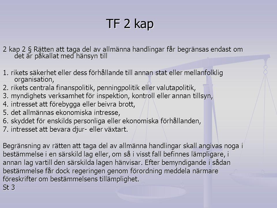 TF 2 kap 2 kap 2 § Rätten att taga del av allmänna handlingar får begränsas endast om det är påkallat med hänsyn till.