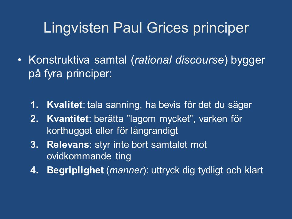 Lingvisten Paul Grices principer