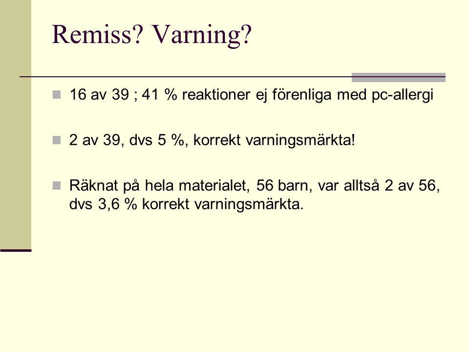 Remiss Varning 16 av 39 ; 41 % reaktioner ej förenliga med pc-allergi. 2 av 39, dvs 5 %, korrekt varningsmärkta!