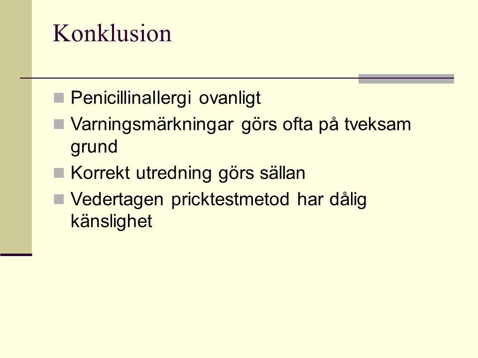 Konklusion Penicillinallergi ovanligt