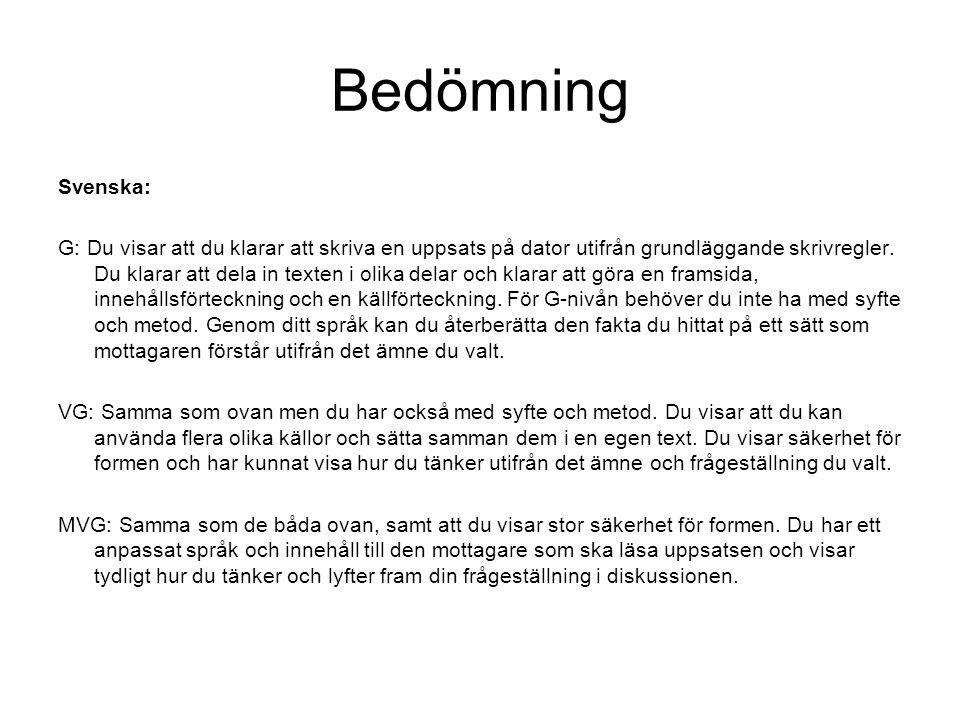 Bedömning Svenska: